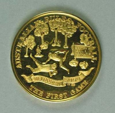 """Medallion - """"The First Game of Australian Rules Football"""" marked on rim 1-2-084"""