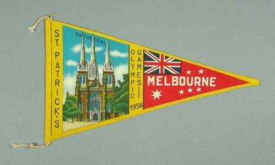 1956 Olympic Games St Patrick's Cathedral souvenir pennant