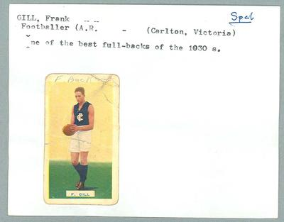Trade card featuring Frank Gill, Hoadley's Chocolates 1934; Documents and books; 1987.1801.47