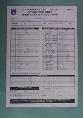 Carbonised List of North Melbourne FC  Players & Officials 1998 Grand Final