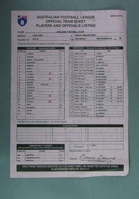 Carbonised List of Adelaide FC  Players & Officials 1998 Grand Final