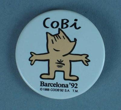 Cobi Mascot Badge -  the official 1992 Barcelona Olympic Games Mascot; Civic mementoes; 1989.2080.2