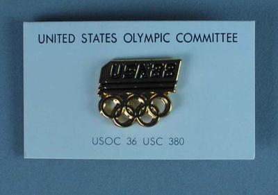 """Lapel Pin - United States Olympic Committee """"USA 88"""" Lapel Pin; Clothing or accessories; 1989.2080.11"""