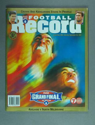 Magazine - 'The Football Record'  Vol 87 No 26, AFL Grand Final 26/9/98