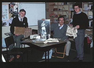 Slide, featuring image of Tom McCullough, Les Harley Jr & Gregor McCaskie c1990