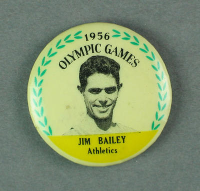 Badge - 1956 Olympic Games with photograph of Jim Bailey, Athletics