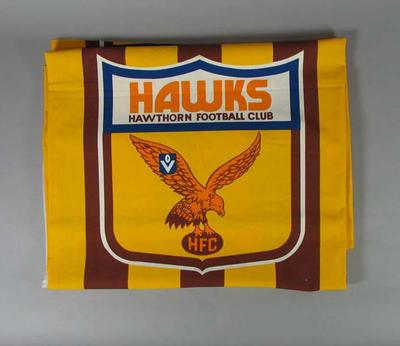 Fabric printed with 'Hawks - Hawthorn Football Club' logo