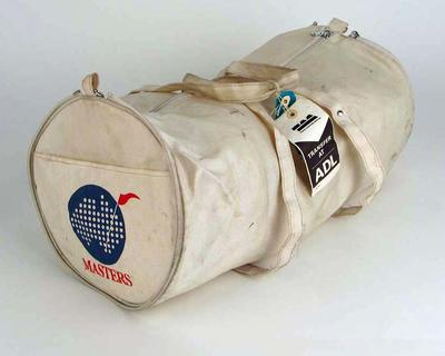 White Canvas-Like Zip-Up Bag, 'Masters' and map of Australia, on bag ends