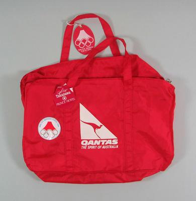 Qantas travel bag for 96th IOC Session, Tokyo 1990; Personal effects; 1992.2715.1.1