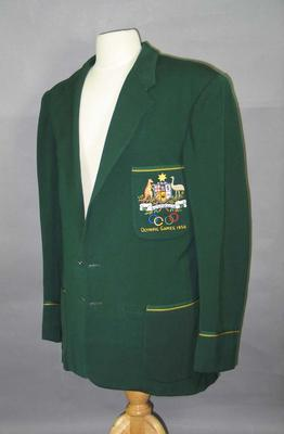 Green 1956 Olympic Games Australian team blazer, worn by Garth Manton