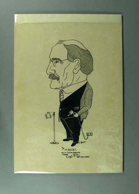 Caricature of Henry Best, depicted with massage tools c1932