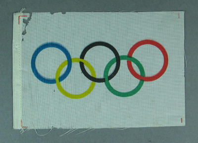Cloth badge with Olympic Rings, worn at 1960 Olympic Games