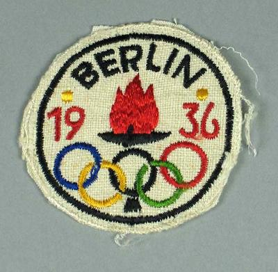 Cloth badge, 1936 Olympic Games