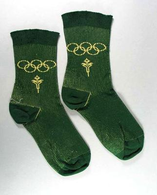 Green Ankle Socks with Olympic Rings - one pair