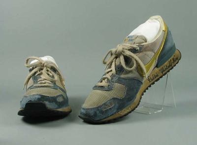 Pair of running shoes, autographed & worn by Debbie Flintoff-King c1988