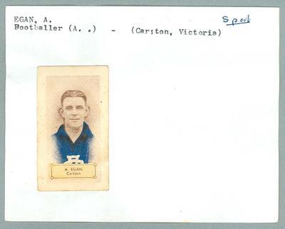 Trade card featuring Alfred Egan, Hoadleys Violet Nut Bar 1932