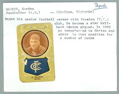 Trade card featuring Gordon Mackie, Giant Licorice 1933