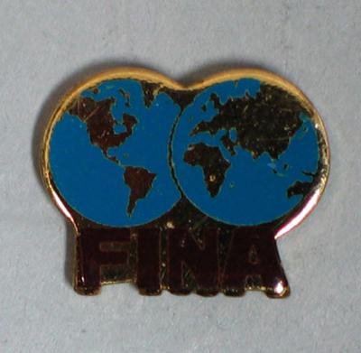 Tie tack, FINA with two world hemispheres; Clothing or accessories; 1986.1258.4