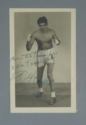 Photograph of and autographed by indigenous pro-boxer Alf Clay