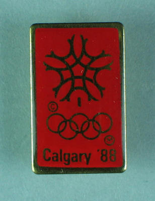 Badge, 1988 Calgary Winter Olympic Games; Clothing or accessories; 1989.2187.9