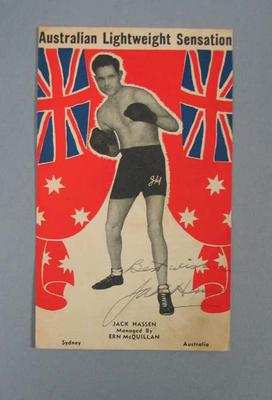Fight card with image of and signed by indigenous pro-boxer Jack Hassen