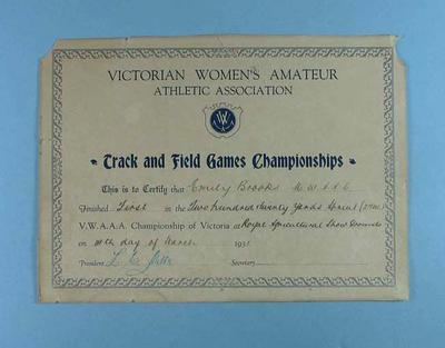 Certificate awarded to Emily Brooks by VWAAA for first place in 220 yards sprint, 14 March 1931