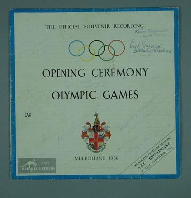 Autographed record cover, 1956 Olympic Games Opening Ceremony; Audio-Visual; 1994.3011.31