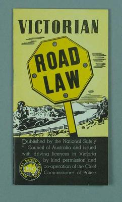 """Booklet, """"Victorian Road Law"""" c1956"""