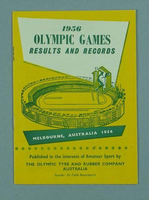"Booklet, ""1956 Olympic Games Results and Records"""