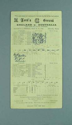 Scorecard, England v Australia cricket match - Lord's, 19-21 May 1945