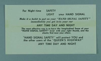 """Pamphlet, """"Hand Signal Safety"""" c1956"""