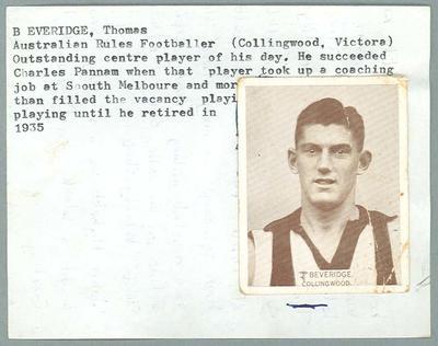 Trade card featuring John Beveridge, Wills Cigarettes 1933