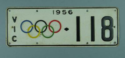 Vehicle number plate, 1956 Olympic Games issue