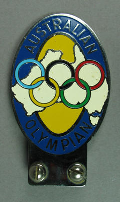 Chrome & enamel car badge with map of Australia and Olympic Games rings