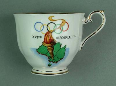 White Bone China Cup with Rings, Torch and Melbourne Coat of Arms