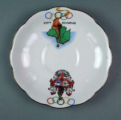 White Bone China Saucer with Rings, Torch and Melbourne Coat of Arms