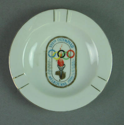 White Ceramic Ashtray with Oval 1956 Olympic Transfer