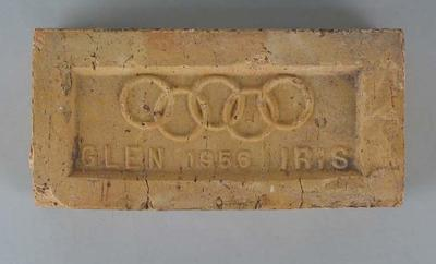 Twenty-two red Glen Iris bricks, stamped with 1956 Olympic Rings emblem