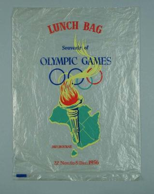 Clear plastic lunch bag, produced to celebrate 1956 Olympic Games