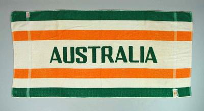 1956 Olympic Games Australian team towel, used by Doris Carter