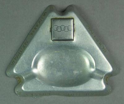 A triangular metallic ashtray - Souvenir Melbourne Australia Olympic Games 1956