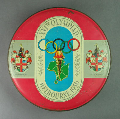 Commemorative biscuit tin, 1956 Olympic Games