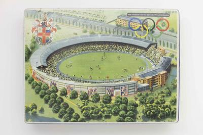 Commemorative biscuit tin with image of MCG, 1956 Olympic Games; Domestic items; 1987.1848.2