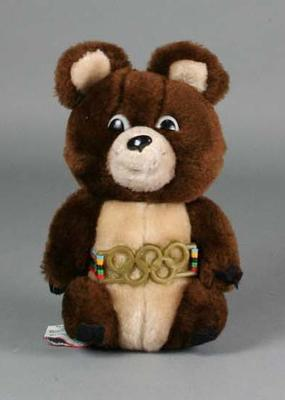 """Soft toy, """"Misha"""" - 1980 Moscow Olympic Games mascot; Games and toys; 1989.2079.1"""