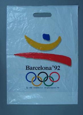 "Plastic Bag featuring Barcelona 1992 Olympic Games  Logo and ""Cobi"" Mascot"