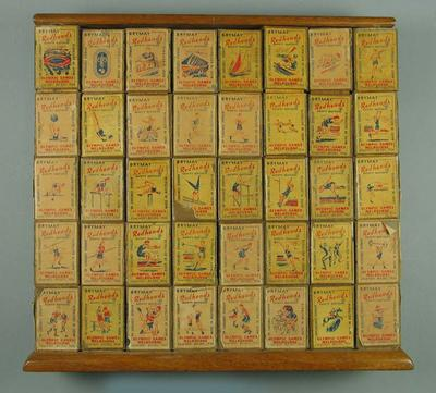 Display of 1956 Olympic Games souvenir matchboxes