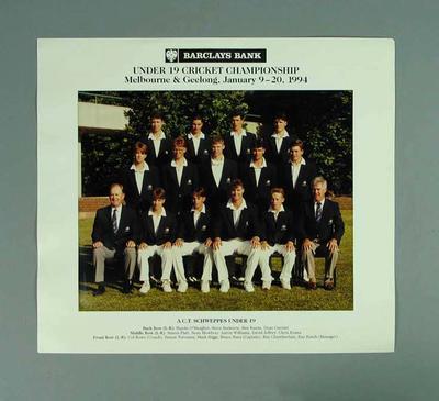 Photograph of Australian Capital Territory cricket team, Under 19 Australian Championships - 1994