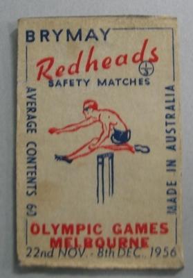 Souvenir matchbox cover, 1956 Olympic Games