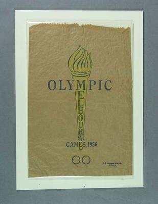 Brown paper bag, 1956 Olympic Games