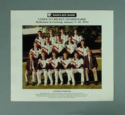Photograph of Northern Territory cricket team, Under 19 Australian Championships - 1994